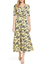 Chaus 'S Floral Ruched Midi Dress 784 Vivid Canary