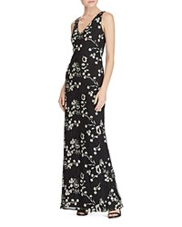Ralph Lauren Floral Embroidered Mesh Gown Black Ivory Shine