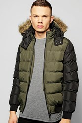 Boohoo Faux Fur Hooded Quilted Jacket Khaki