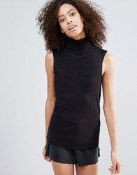 B.Young Roll Neck Sleeveless Top Black