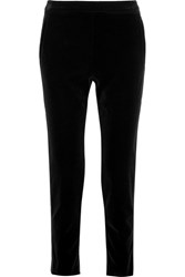 Tomas Maier Satin Trimmed Stretch Cotton Velvet Tapered Pants Black
