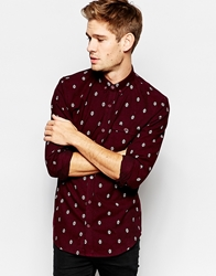 Pull And Bear Pullandbear Heavy Printed Cotton Shirt Wine
