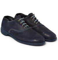 Guidi Cordovan Washed Leather Oxford Shoes Navy