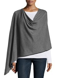 Minnie Rose Reversible Cotton Poncho Gray Flannel Black