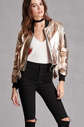 Forever 21 Ring Zipper Metallic Bomber Gold