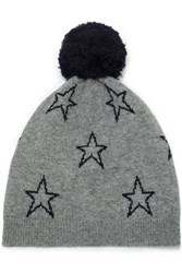 Chinti And Parker Pompom Embellished Intarsia Wool Cashmere Blend Beanie Gray
