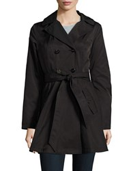 Laundry By Shelli Segal Double Breasted Hooded Trench Coat Black