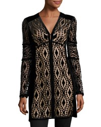 Nanette Lepore Long Sleeve Velvet Lace Tunic Black