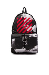 Off White Liquid Spots Backpack In Abstract Black Stripes Abstract Black Stripes