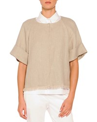 Piazza Sempione Short Sleeve Fringe Trimmed Jacket Taupe Brown