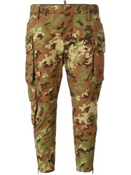 Dsquared2 Cropped Camouflage Trousers Green