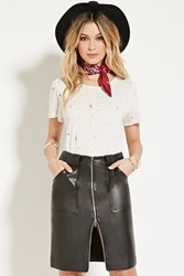 Forever 21 Faux Leather Knee Length Skirt Black