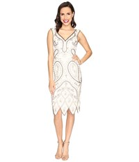 Unique Vintage Malvina Beaded Flapper Dress Ivory Gold Women's Dress
