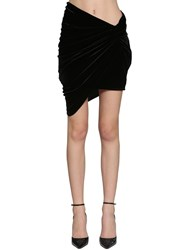 Alexandre Vauthier Draped Velvet Jersey Mini Skirt Black