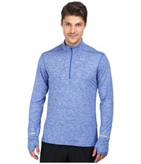 Nike Dri Fit Element Half Zip Pullover Game Royal Heather Reflective Silver Men's Long Sleeve Pullover Blue