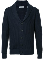 Gieves And Hawkes Deep V Neck Cardigan Silk Wool Blue