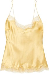 Carine Gilson Chantilly Lace Trimmed Silk Satin Camisole Gold