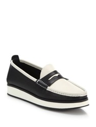 Rag And Bone Tanja Two Tone Leather Loafers Black White