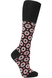Marni Intarsia Cotton Blend Socks Red