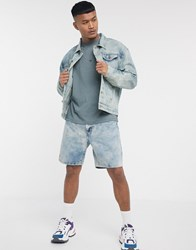 Liquor N Poker Co Ord Denim Shorts In Cloud Wash Blue