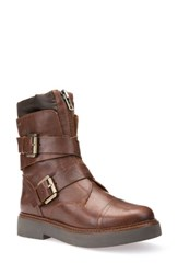 Geox Women's Rayssa Moto Boot Brown Leather