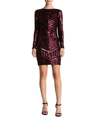 Dress The Population Sequined Long Sleeve Bodycon Black Berry