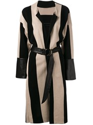 Petar Petrov Striped Coat Black