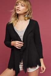 Anthropologie Textured Fringe Cardigan Black