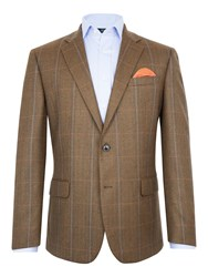 Paul Costelloe Men's Redbridge Wool Check Blazer Brown