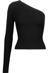 Autumn Cashmere One Shoulder Ribbed Knit Top Black
