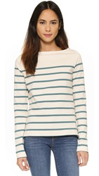Solid And Striped The Breton Boat Neck Tee Cream And Aspen Stripe