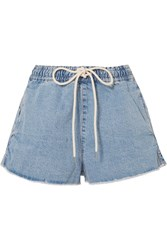 Bassike Drawstring Denim Shorts Mid Denim