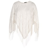 Chesca Devore Fringed Poncho Cream