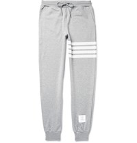 Thom Browne Tapered Striped Loopback Cotton Jersey Sweatpants Gray