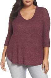 Soprano 'S High Low Knit Top Wine