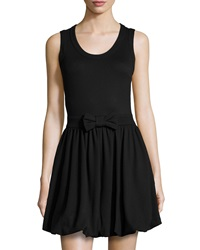Red Valentino Bow Waist Sleeveless Bubble Dress Black