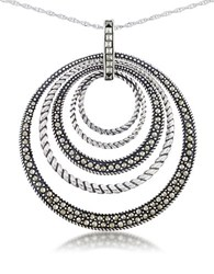 Lord And Taylor Multi Circle Pendant Necklace Silver