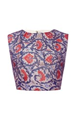 Sandra Mansour Lace And Printed Ottoman Gazar Top Pink