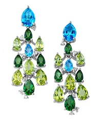 Effy Mosaic Semi Precious Multi Stone 14K White Gold Chandelier Earrings Green