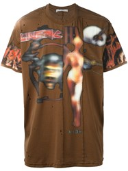 Givenchy 'Heavy Metal' Pieced T Shirt Brown