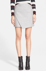 Carven Asymmetrical Wrap Wool Blend Skirt Gris Clair Chine