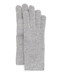 Neiman Marcus Honeycomb Knit Gloves Grey