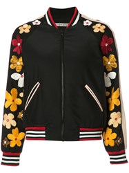Alice Olivia Floral Embroidery Bomber Jacket Blue