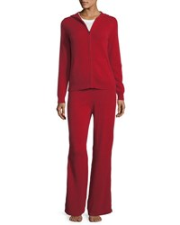 Neiman Marcus Cashmere Hoodie And Pant Lounge Set Plus Size Red