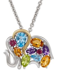 Macy's Multi Gemstone Elephant Pendant Necklace 3 1 4 Ct. T.W. In Sterling Silver And 14K Gold And Sterling Silver