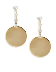 House Of Harlow Stud Accented Disc Drop Earrings Gold