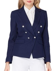 Tahari By Arthur S. Levine Petite Solid Double Breasted Jacket Military Navy