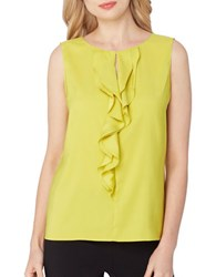 Tahari By Arthur S. Levine Regular Fit Ruffle Front Sleeveless Woven Top