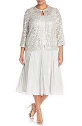 Plus Size Women's Alex Evenings Tea Length Lace And Chiffon Jacket Dress