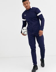Puma Football Tracksuit In Navy With White Panels Exclusive To Asos